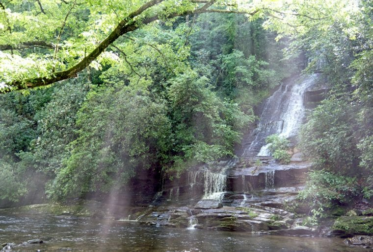 This is one of three waterfalls that you can see at Deep Creek near Bryson City, NC. A visit to Deep Creek is one of the Best things to do in Bryson City North Carolina
