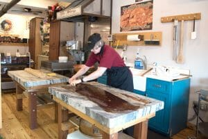 Making fudge at The Chocolate Shoppe in Bryson City, NC. A stop at the chocolate shoppe is one of the things to do in Bryson City, NC