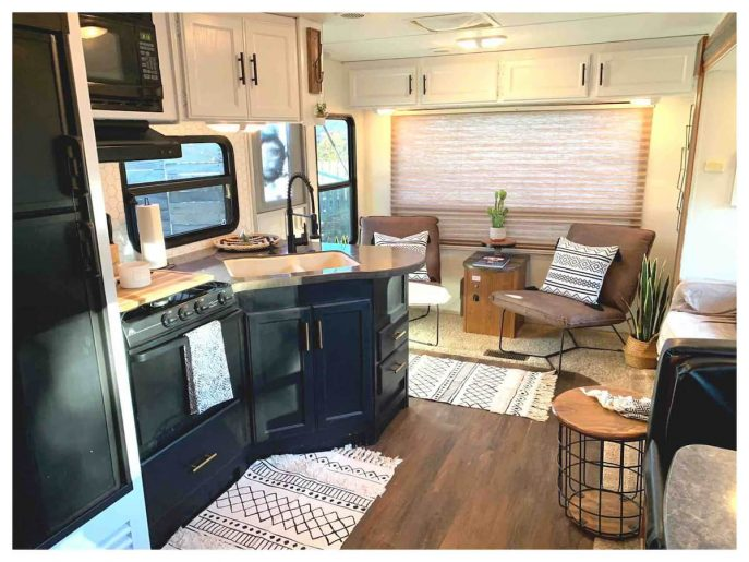 Kitchen in the Nasville Glamping Retreat. One of the best places for glamping in Tennessee
