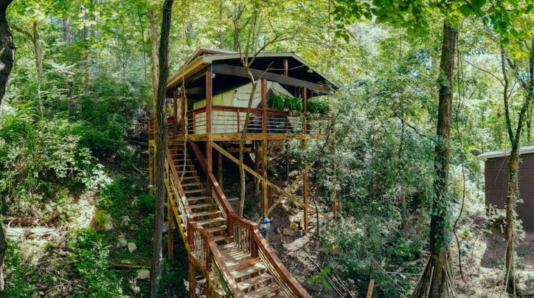 The Roost is a glamping tent in the hills near Chattanooga